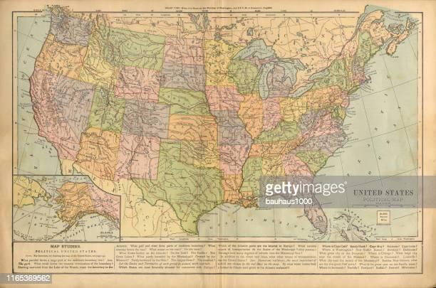 ilustraciones, imágenes clip art, dibujos animados e iconos de stock de mapa político de los estados unidos de américa antiguo mapa de color grabado victoriano, 1899 - ee.uu.