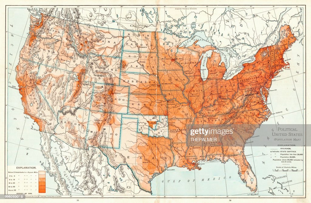 Political Map Of United States 1895 Stock Illustration | Getty Images
