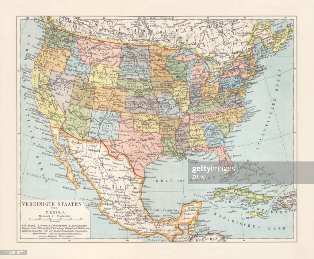 Political Map Of United States And Mexico Lithograph ...