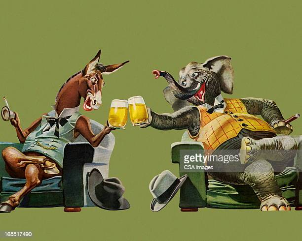politicians having a beer - political party stock illustrations
