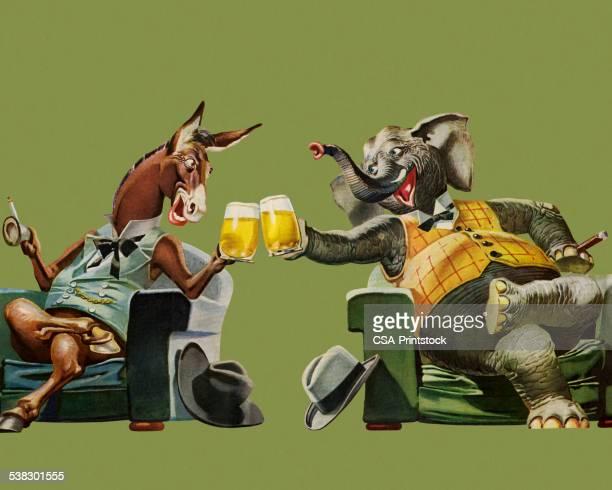 politicians having a beer - us republican party stock illustrations, clip art, cartoons, & icons