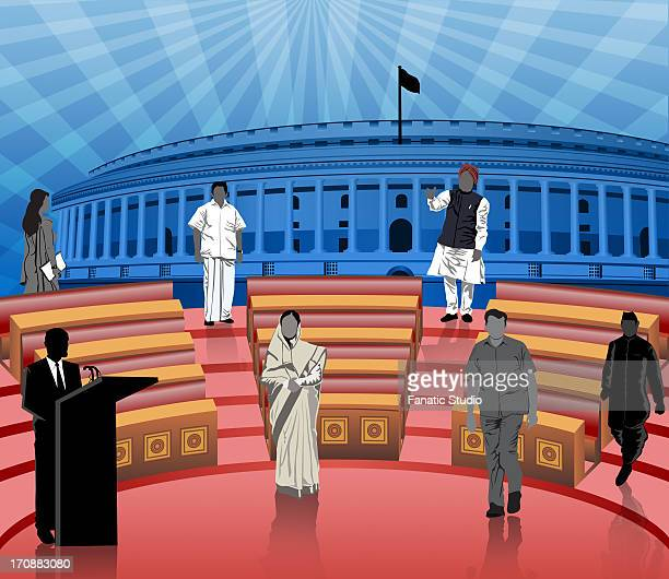 politicians in front of a parliament house, sansad bhawan, new delhi, india - india politics stock illustrations