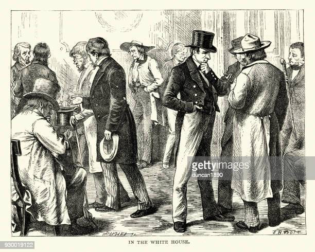 politicians in the white house, america, 1840s - 1840 1849 stock illustrations