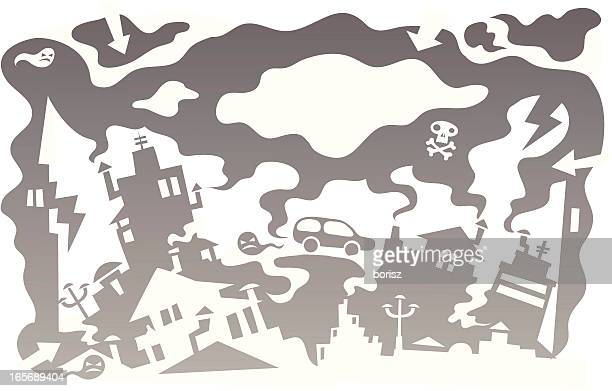 polluted city - hatchback stock illustrations, clip art, cartoons, & icons