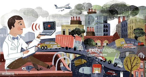 pollution - transportation stock illustrations