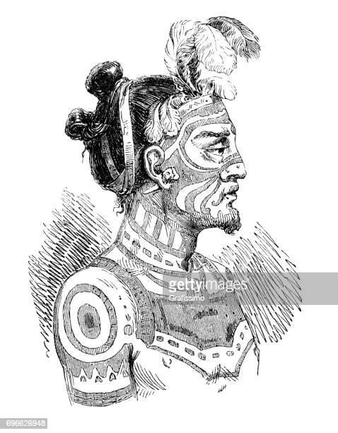 polynesian king of marquesas island with tattoo - french polynesia stock illustrations