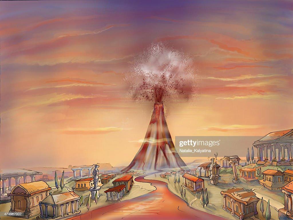 Pompei Eruzione Del Vesuvio Illustrazione stock - Getty Images