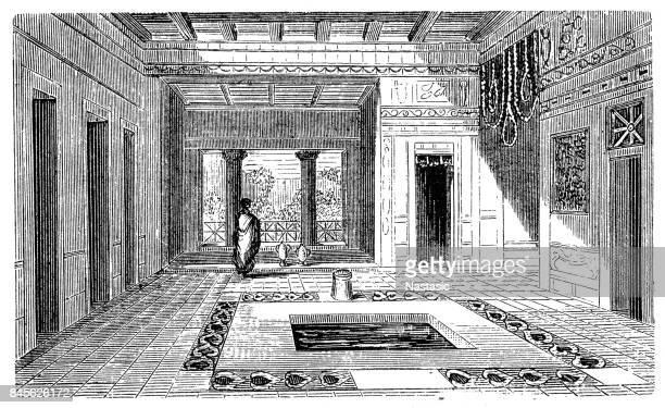 pompeii house - mt vesuvius stock illustrations, clip art, cartoons, & icons