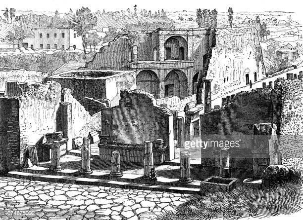 ilustraciones, imágenes clip art, dibujos animados e iconos de stock de pompeya, foro triangulare - arqueología