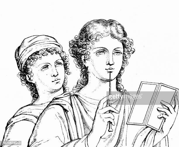 pompeii, writing woman - ancient rome stock illustrations, clip art, cartoons, & icons