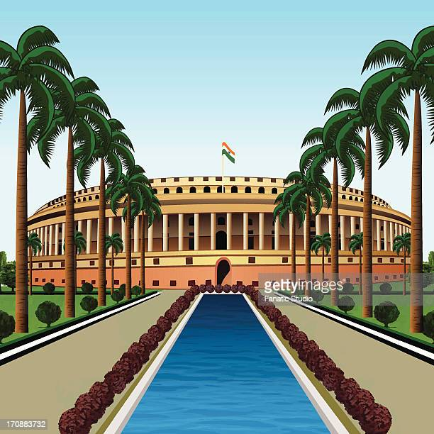 pond in front of a government building, sansad bhawan, new delhi, india - india politics stock illustrations