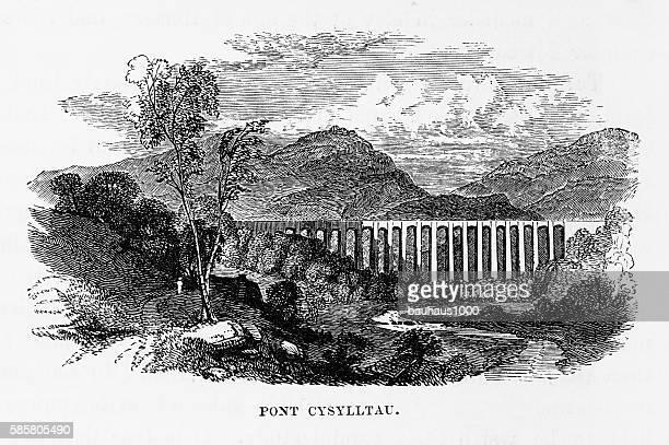 pont cysylltau aqueduct, wrexham, wales victorian engraving, circa 1840 - aqueduct stock illustrations, clip art, cartoons, & icons