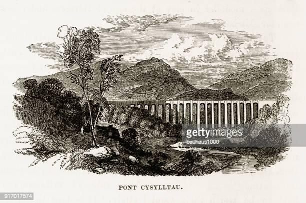 Acueducto de Pont Cysylltau, Wrexham, Gales grabado victoriano, Circa 1840