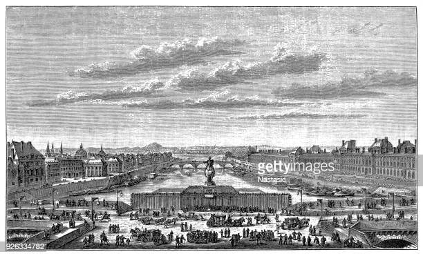 pont neuf and the quais at the louvre at the time of louis xiv - louis xiv of france stock illustrations, clip art, cartoons, & icons