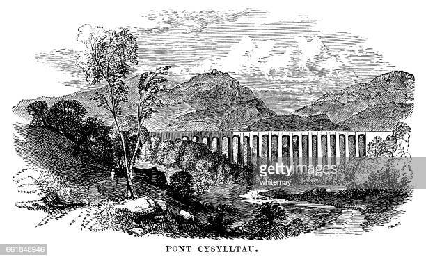 pontcysyllte aqueduct (victorian engraving) - aqueduct stock illustrations, clip art, cartoons, & icons