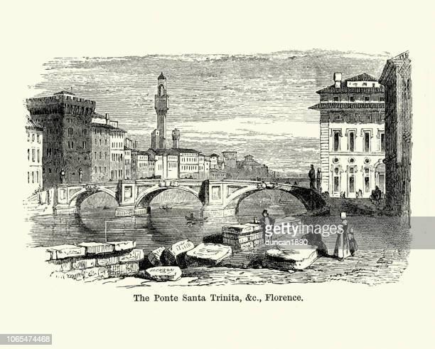 ポンテ サンタ トリニタ、フィレンツェ、イタリア 19 世紀 - フィレンツェ点のイラスト素材/クリップアート素材/マンガ素材/アイコン素材