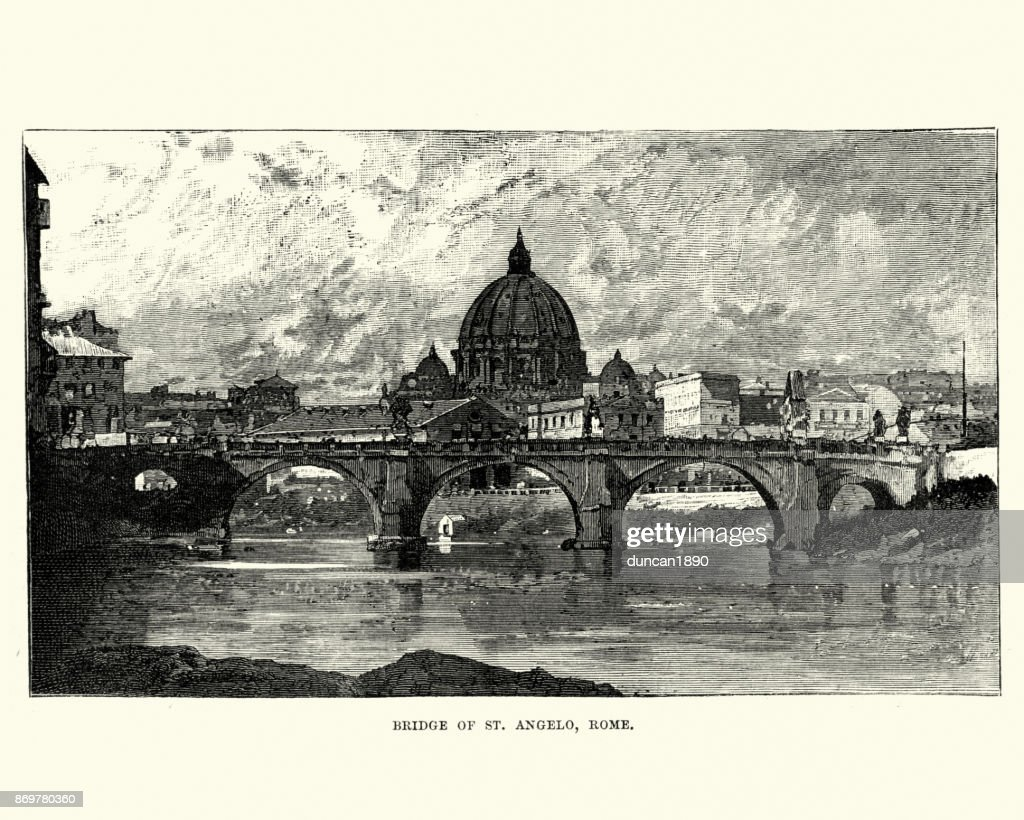 Ponte Sant'Angelo, Rome, 19th Century : stock illustration