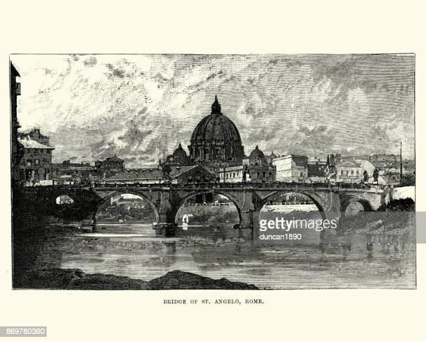 ilustrações de stock, clip art, desenhos animados e ícones de ponte sant'angelo, rome, 19th century - st. peter's basilica the vatican