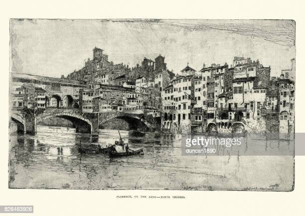 ponte vecchio, florence, italy, 19th century - tuscany stock illustrations, clip art, cartoons, & icons