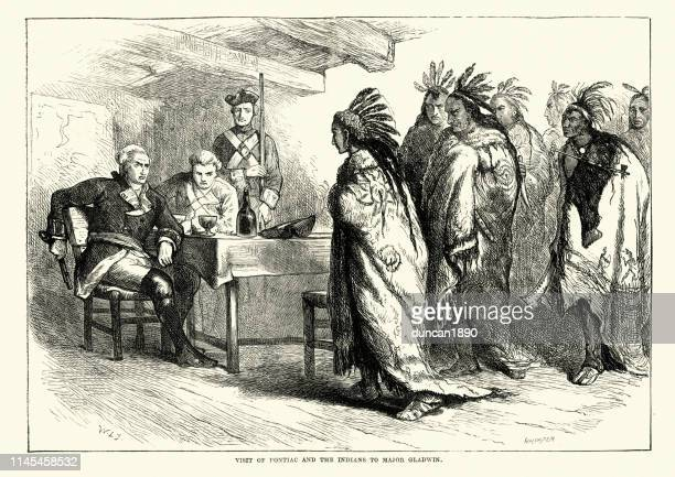 pontiac (ottawa leader) and the native americans with major gladwin - 18th century stock illustrations