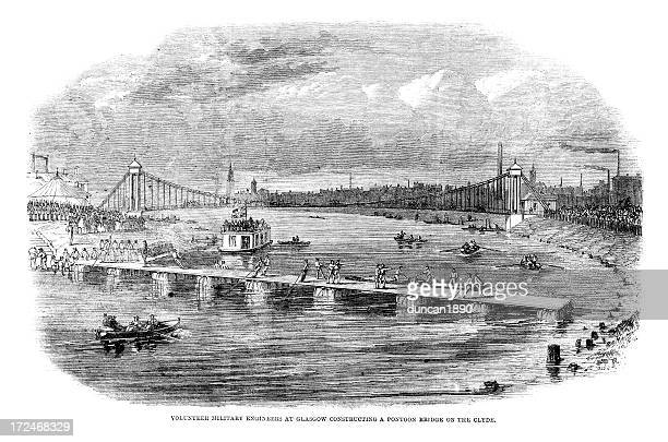 pontoon bridge - clyde river stock illustrations, clip art, cartoons, & icons