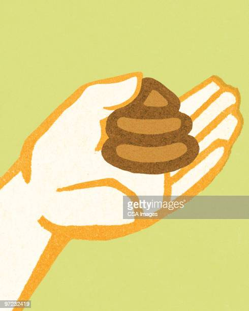 poo in hand - feces stock illustrations, clip art, cartoons, & icons