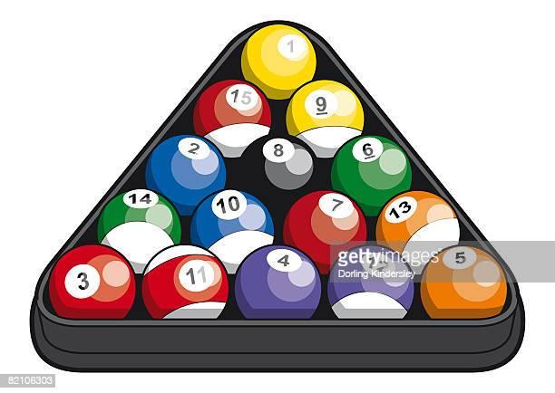 pool balls inside triangle - pool ball stock illustrations
