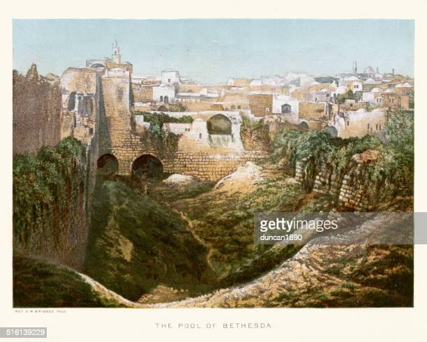 pool of bethesda - historical palestine stock illustrations
