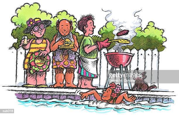 ilustraciones, imágenes clip art, dibujos animados e iconos de stock de poolside cookout - pool party