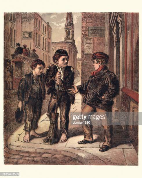 poor london street children, 1870 - orphan stock illustrations