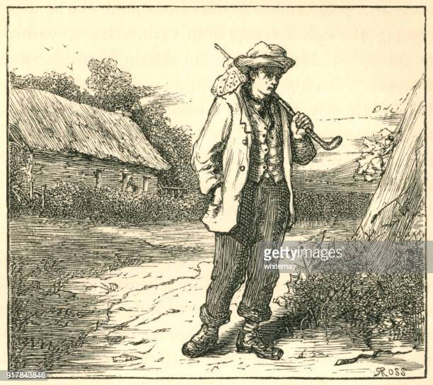 poor vagrant carrying his possessions in a bundle - vagabond stock illustrations, clip art, cartoons, & icons