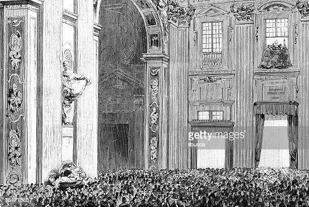ilustrações de stock, clip art, desenhos animados e ícones de papa benediction basílica, vaticano - st. peter's basilica the vatican