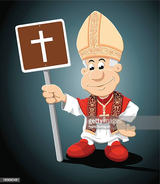 pope cartoon man church sign - mitre stock illustrations