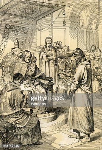 Pope Gregory Vii And Emperor Henry Iv Antique Illustration ...
