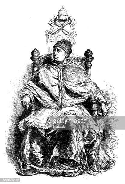 pope leo x (1475-1521) - bishop clergy stock illustrations, clip art, cartoons, & icons