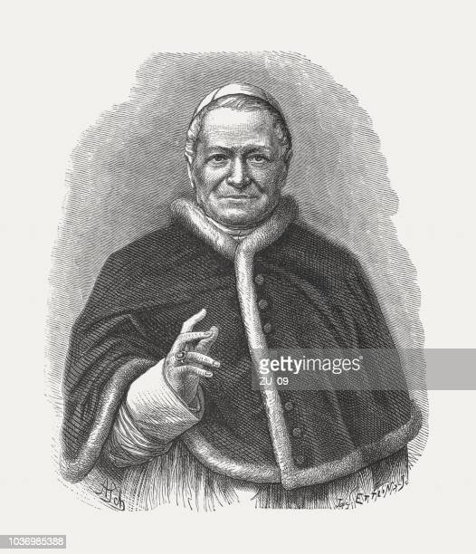 Pope Pius IX (1792-1878), wood engraving, published in 1876