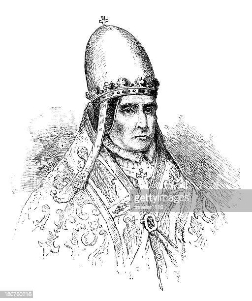 pope sylvester ii - auvergne rhône alpes stock illustrations, clip art, cartoons, & icons