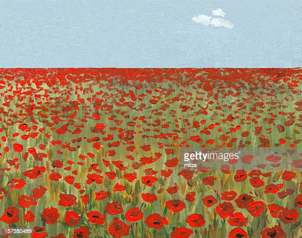 poppy field in a sunny day - poppy stock illustrations, clip art, cartoons, & icons