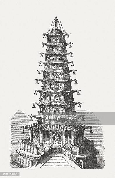 porcelain tower of nanjing, china, destroyed the mid-19th century - pagoda stock illustrations, clip art, cartoons, & icons