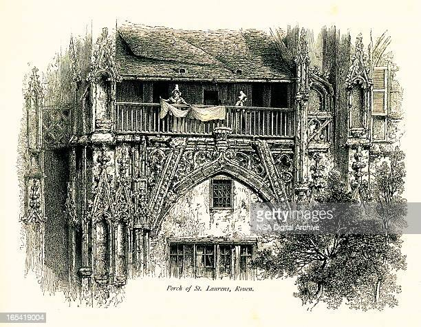 porch of st. laurens church, rouen, france - normandy stock illustrations