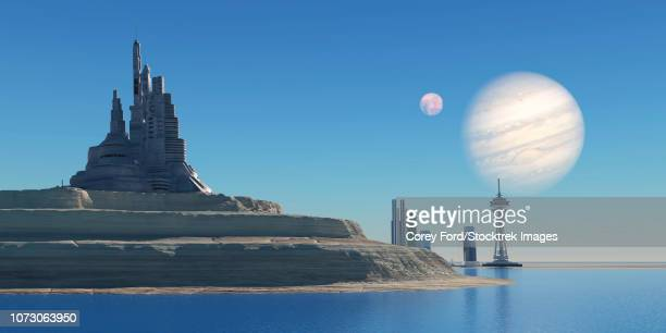 a port colony one jupiter's largest moon, ganymede. - 宇宙基地点のイラスト素材/クリップアート素材/マンガ素材/アイコン素材