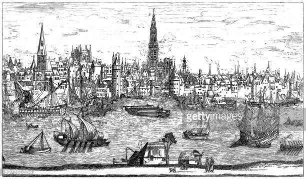 port of antwerp, 16th century - 16th century style stock illustrations, clip art, cartoons, & icons