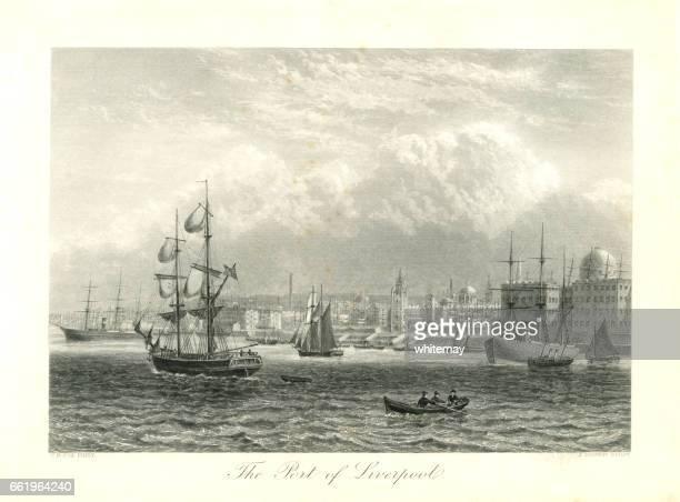 illustrazioni stock, clip art, cartoni animati e icone di tendenza di porto di liverpool (incisione vittoriana) - liverpool inghilterra