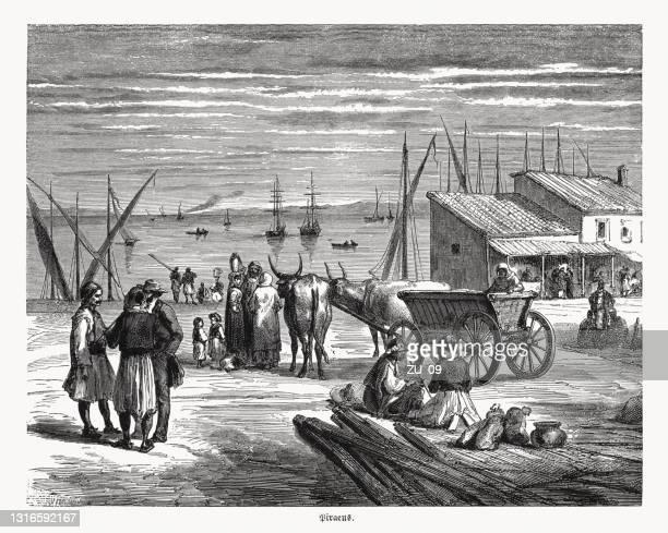 port of piraeus near athens, greece, wood engraving, published 1868 - piraeus stock illustrations