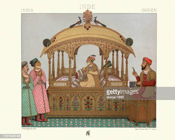 portable throne of mughal emperors, india - mughal empire stock illustrations