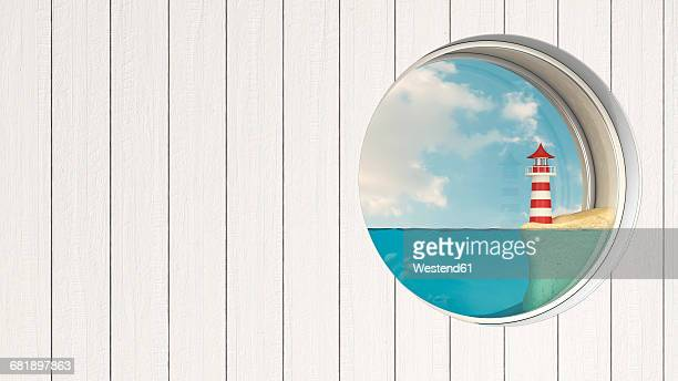 Porthole in wooden wall with lighthouse at sea shore