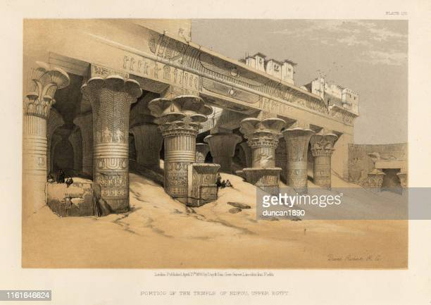 portico of temple of edfu partially buried in desert sand - architectural feature stock illustrations, clip art, cartoons, & icons