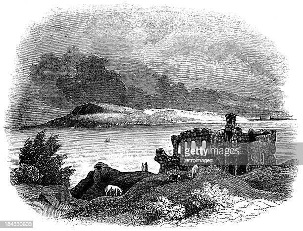 portland from sandsfoot castle (engraved illustration) - 1840 1849 stock illustrations