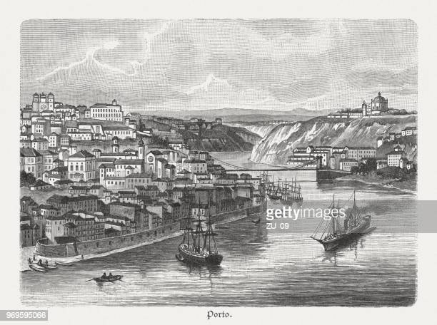 Porto with the Douro estuary, wood engraving, published in 1897