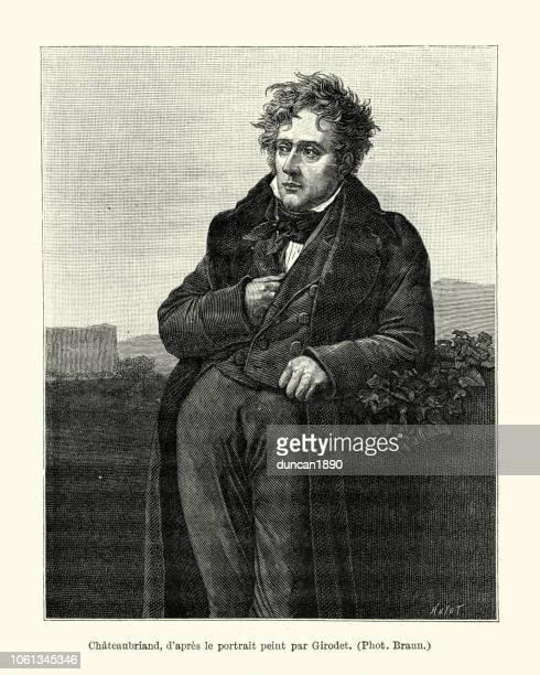 portrait de chateaubriand after girodet - sirloin steak stock illustrations, clip art, cartoons, & icons
